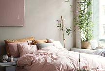 Bedroom / Bedroom inspiration. Textile, bed, cushions, duvet cover, lighting.
