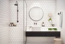 Bathroom / Tiles, marble, shower, plants, towel, make up, mirror.