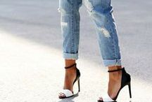 double denim / jeans, jackets, shorts / by Charlotte Ingram