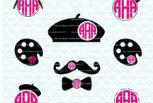 Homeberries SVG Cut Files Monogram and Split Frames / Here's where you can see some of the monogram frame cut files that are available for purchase in my shop! SVG DXF EPS JPEG Cut Files for Cricut, Silhouette, Sure Cuts a Lot, Make the Cut and other diecutting machines.