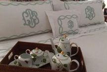 Monogrammed Bedding / We are know for our elegant large monograms at The Pink Monogram.  Whether we have embroidered a large 18 inch monogram on bedding or we have ordered Matouk or Jane Wilner  Designs for our customers, we have pinned some of our favorites.