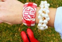 Arm Candy / We are all about layering on the bracelets and watches.  Add a piece that is monogrammed for a fun look.