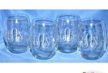 Monogrammed Crystal Barware / We have a huge selection of monogrammed crystal bar ware.  Need a vase for flowers at an event. We have those too . Our favorite are the stemless wine glasses. Perfect for all parties!
