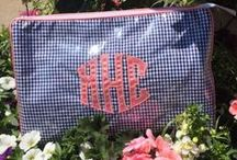 Talley Ho Designs Cosmetic Bags / Love a monogrammed bag? Talley Hi Designs is the ultimate in lux for an applique monogrammed cosmetic bag or carry all. Create your own bag by choose the fabric and the monogram.