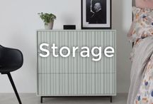 Stylish Storage Solutions | made.com / Forget plastic tubs hidden under the bed. Think vintage trunks, trinkets styled on shelves and concealing consoles for a clutter free interior. Makes organising easy with these stylish storage ideas.