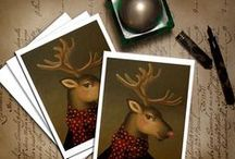 Great Stocking Stuffers from Curious Portraits / Gifts for under $25 for Secret Santa Gifts, Stocking Stuffers, Pollyannas, Teacher's gifts etc. Nostalgic, Anthropomorphic Animal Portraits. / by Lisa Zador Illustration