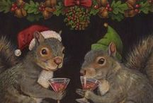 Christmas Curiosities from Curious Portraits / Gifts for under $25 for Secret Santa Gifts, Stocking Stuffers, Pollyannas, Teacher's gifts etc. Nostalgic, Anthropomorphic Animal Portraits. Ornaments, brooches, coasters and prints