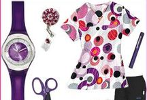 Twirl Pink Style Board! / The Twirl Pink Scrub Top by Bio geometric shapes are fun and colorful! It coordinates with azalea, red, black, white, purple and orange.