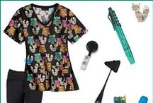 Hoo You Calling Foxy Style Board / The Hoo You Calling Foxy Scrub Top by Cherokee Flexibles Scrubs features an owl and fox print that is versatile and fun! Coordinates with black, grey, pewter, shocking pink, pine, turquoise and white.