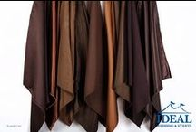 Brown & Copper Linens / Brown & Copper Linens available in a variety of sizes and material options from Ideal Wedding and Events.