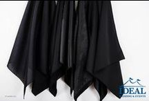 Black Linens / Black Linens available in a variety of sizes and material options from Ideal Wedding and Events.