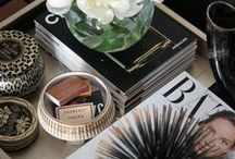 Cosy Corners / The best coffee table styling for your cosy corners. Marble backgrounds and fashion books for every surface.