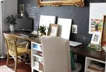 work space / work space, office desk, rustic style office and home office, interior design ideas.