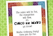 Cinco de Mayo / Cinco de Mayo parties are a great reason to serve  frosty margaritas, cold beer, tasty burritos, chips & salsa, tacos, chili peppers, tequila & more. It's easy to create the perfect Cinco de Mayo party with fabulous invitations from TheInvitationShop.com that get the party started!