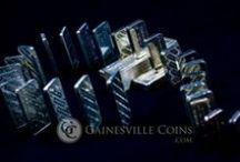 Silver Bars Spotlight / Gainesville Coins carries privately minted silver bars and silver rounds from, PAMP Suisse Sunshine Mint, Johnson Matthey, Engelhard, Credit Suisse and Academy. Traditional silver bars range in size from 1 oz. to 100 oz, but smaller sizes (grams) are also available.