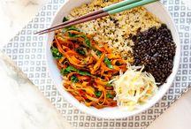bowl food / Plant-based bowl food - noodle, grain, rice, and yoga bowls  (vegetarian and vegan)