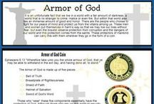 Armor of God / The Armor of God coin, was originally designed to be given to Christian Chaplains, to boost their spirits for their efforts within military affairs. As the coins were given out their popularity quickly spread throughout the world. Now the Armor of God coin is purchased and used by various types of individuals and organizations who consider themselves warriors belonging to the Army of God.