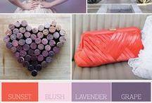 lavender + purple + coral