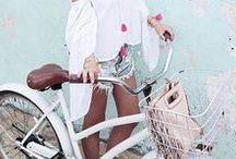 | BIKE STYLE | / Girls cycling on bikes in style. Chic ladies looking pretty with their bicycles
