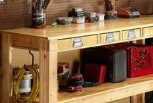 Workbench Plans / Before you can begin your many DIY projects, you'll need a trusty workbench to work from! Why not build the workbench yourself? This board contains project plans, instructions, and tips for how to build a workbench that will meet your needs and organize your tools and materials.