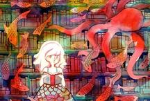 Ilustración, fotografía, pintura: libros, lectores y bibliotecas / Recopilación de ilustraciones de libros, lectores y bibliotecas / by Bpe Teruel