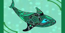 Fish and Whales Spirit Animal Totems T-Shirts / Artistic tribal designs on T-shirts of whales and fish often depicted as spirit animals or totems.