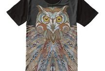 Feather and Bird Design T-shirts / Designs inspired by Feathers and Birds such as: owl, eagle, hawk, falcon, peacock, and bluebird.