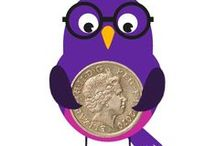 Money Facts / Lots of fun and interesting facts about money, depicted by our funky little Magpie!
