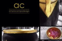 Ampio Campo Design / Peças exclusivas feitas a mão e revestidas em folha de ouro.
