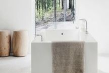 """natural modern bathroom ideas / As the name suggests """"natural modern"""" is a type of interior design and decoration style that combines the use of recycled timber with natural sustainable finishes, natural fibres like hemp, jute, sisal and linen, textures instead of patterns, taupe, off-whites and neutral earthy colours and lots of timber. For more inspiration on how to decorate this style visit 