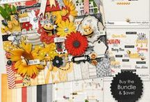 {Queen Bee} Digital Scrapbook Collection by Digilicious Design / A cute and fun kit in gorgeous shades of yellow, red and black. Whether you're scrapping about yourself, your kids or adventures in the park or garden, you'll find this kit easy to use and very versatile.