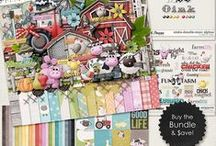 {Oinka-Doodle-Moo} Digital Scrapbook Collection by Digilicious Design / A cute and fun kit great for projects about farm visits, trips to the petting zoo, and general layouts for kids and babies! Filled with all your farmyard favourites, this huge kit will make many adorable pages and projects!
