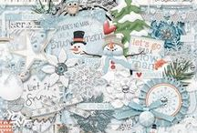 {Frosty} Digital Scrapbook Kit by Digilicious Design / Let's build a snowman! Inspired by Frosty the Snowman, this 'cool' kit is perfect for your winter snapshots!