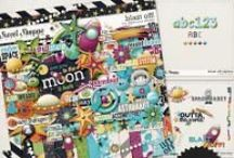 {Blast Off!} Digital Scrapbook Collection by Digilicious Design / Whether it's a trip to the planetarium you want scrap, or just a fun kids layout or project, Blast Off out of this world! Enjoy the playful colour palette and cute design - this collection is jam-packed with cosmic coolness!