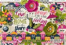 (Feels Like Home} Digital Scrapbook Kit by Digilicious Design / A gorgeous kit celebrating our humble home and all the love it is filled with. With a stunning colour palette this kit is so versatile it can be used for everyday projects as well as Valentines, Spring and so much more!