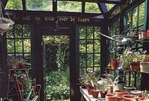 Greenhouse Getaway / Inspiration for a garden and greenhouse. Herb garden, flower garden, wildflowers, vegetable garden, Victorian greenhouse, Victorian garden, garden path