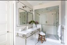 Bathrooms: Serene, Stylish, Functional Sophia Shibles Interior Design / Bathroom design, renovation: shower fixtures, tile, vanities, countertops, hardware, shower glass, mirrors, washstands, bathroom sconces, mosaics, stone, bathroom lighting, pendants; and more