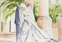 Weddings ...  / Drawings of brides in their wedding gowns