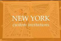 NEW YORK CUSTOM INVITATIONS / New York custom invitations with the NYC skyline and New York City skyline.