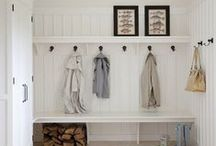 Organizing Small Spaces / Make the most of small spaces, keeping small spaces organized, board & baton, wainscoting, how to put up wainscoting, family landing zone, backpack hooks, closet to mudroom transformation