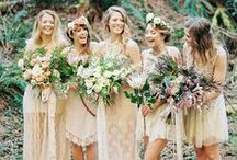 Bridal Party Style / Dress your bridesmaids in style with these fun and beautiful bridesmaids dresses, hairstyles, makeup and different shades of color palettes! Also sweet ideas for your flower girls!