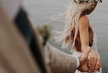Boho Bridal Style / Bohemian bridal style inspiration. Flower crowns, bridal hairstyles of long hippie hair, braids and messy updos. Lace dresses of flowing and backless styles, sunlight and romance.