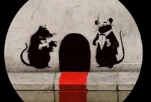 """Banksy / """"A wall is a very big weapon. It's one of the nastiest things you can hit someone with.""""  / by Robin Ann"""