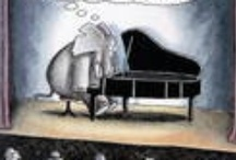 Comics for Musicians / Comic strips featuring pianos, elephants, flutists, and frogs...