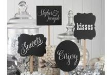 Chalkboard Crazy / Customize your event with chalkboard stickers, picks, frames, signs and tags in different shapes and sizes. Add them to vintage finds or new gifts and favors to create a unique look. Personalize with chalk