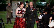 Steampunk Wedding / Steampunk Wedding Galveston, TX Kempner Park Garten Verein Red Wedding Dress