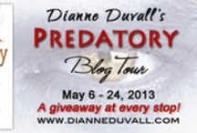 "Predatory Blog Tour • May 6th-24th / I'm celebrating the release of Predatory, an anthology that contains my Immortal Guardians novella ""In Still Darkness"" and stories by Alexandra Ivy, Nina Bangs, and Hannah Jayne, with a blog tour.  Get to know me and my Immortal Guardians better through author interviews, character interviews, guest posts, excerpts, and more.  There will be a giveaway at every stop!  :-)  http://www.dianneduvall.com/tours.htm"