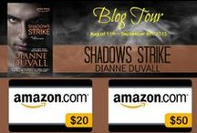 Shadows Strike Blog Tour & Giveaway / Pics that link to the stops on my Shadows Strike Blog Tour that includes a big giveaway + excerpts, character interviews, author interviews, teasers, Top 5 lists, Top 10 lists, and more.