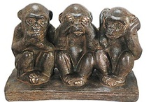 "no evil / as a young girl, i was fascinated by the little ""see no evil, hear no evil, speak no evil"" monkeys that my grandmother's neighbor had in her kitchen...when i saw some on pinterest, i was smitten again! / by Karen Howell"