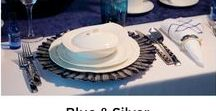 Blue and Silver Table Setting for Elegant and Classy dinner party / Set a stylish and Elegant Table for that special someone to make them feel special on their Birthday, Anniversary, Engagement, or other event. Distinctive settings, with complete collections available on our website.